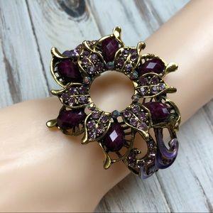 Jewelry - Purple and antique gold clamper cuff bracelet